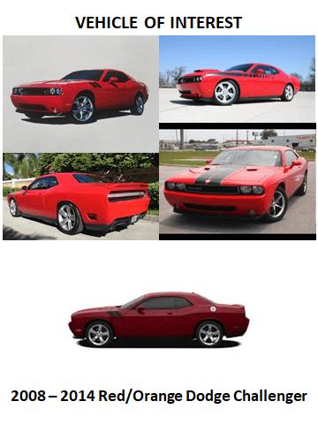 A 2008-2014 red-orange Dodge Challenger