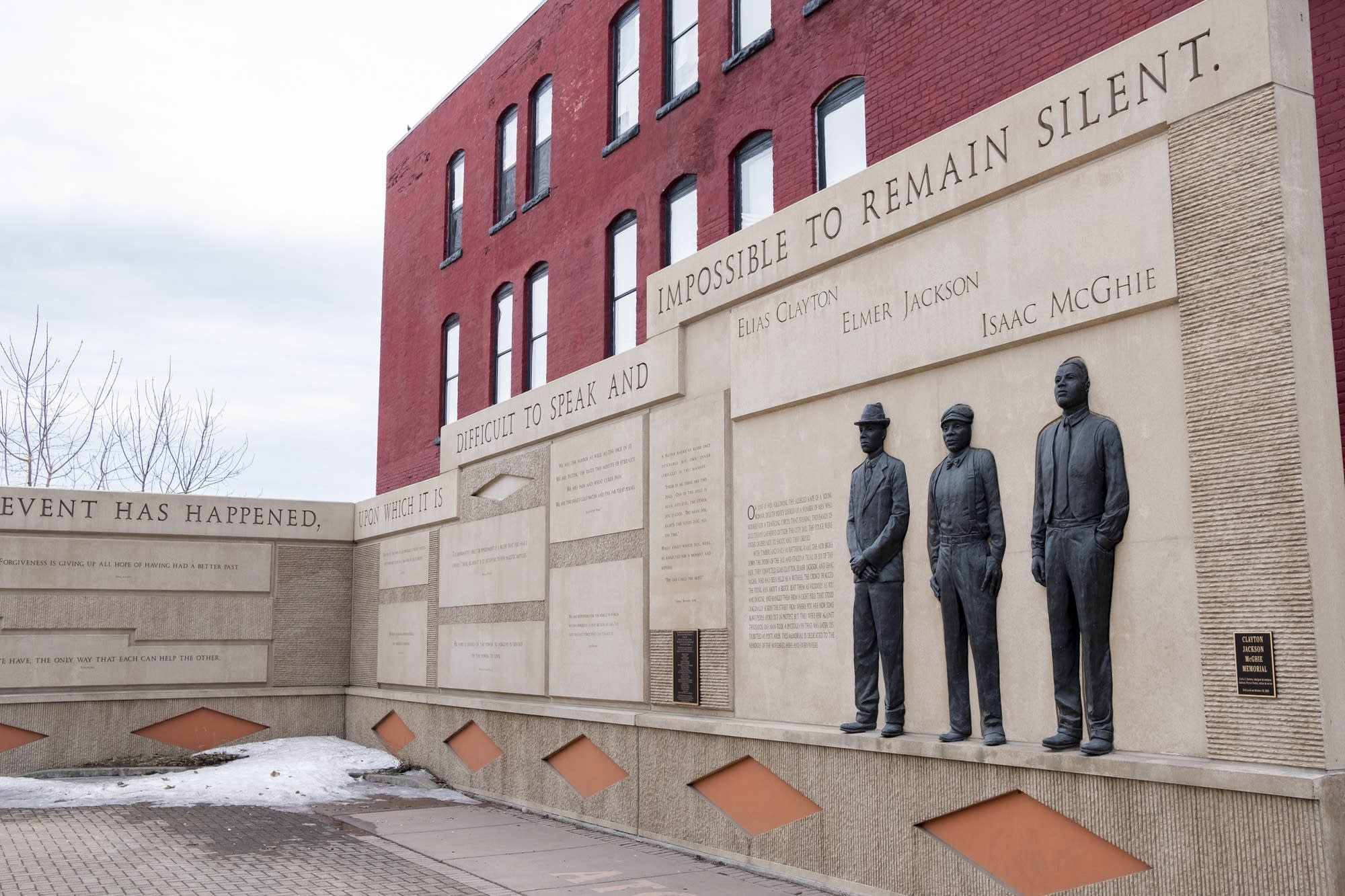 The Clayton-Jackson-McGhie Memorial stands in Duluth.