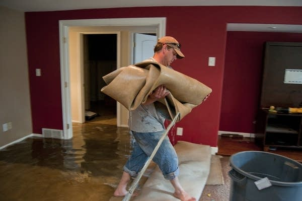 Matt Michel carries wet carpet.