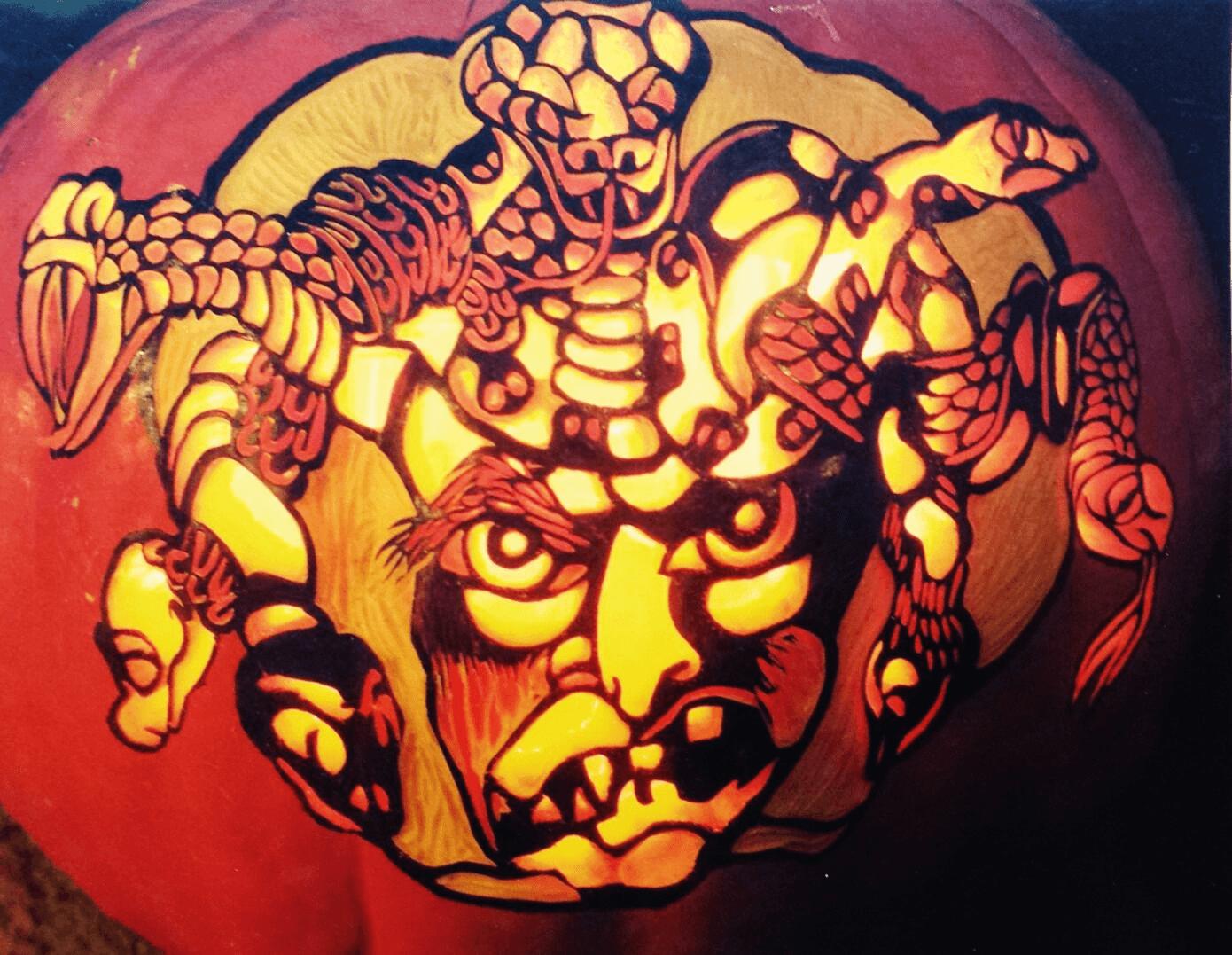 A Medusa pumpkin carving