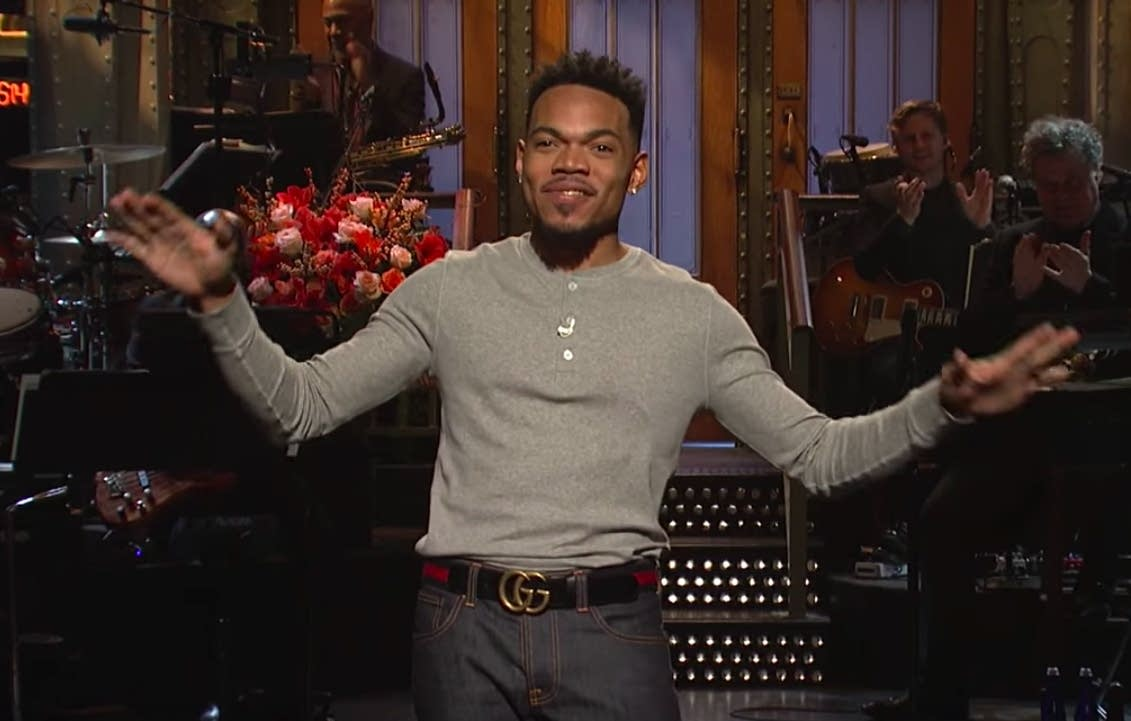Chance the Rapper delivers an opening monologue on SNL.