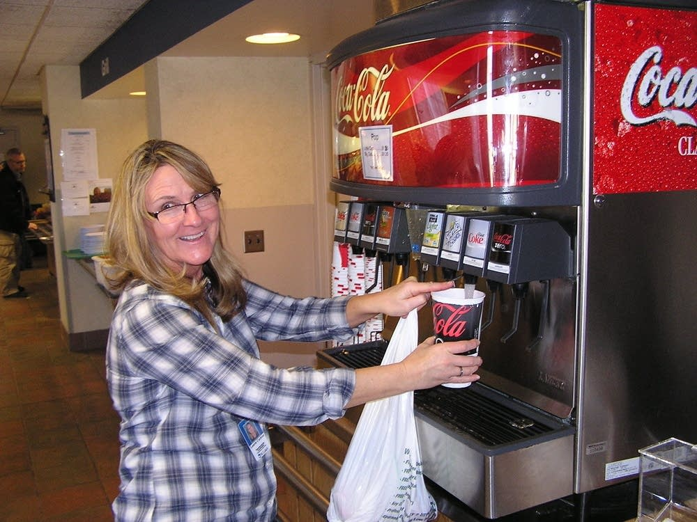 Laurie Carlson gets Diet Coke