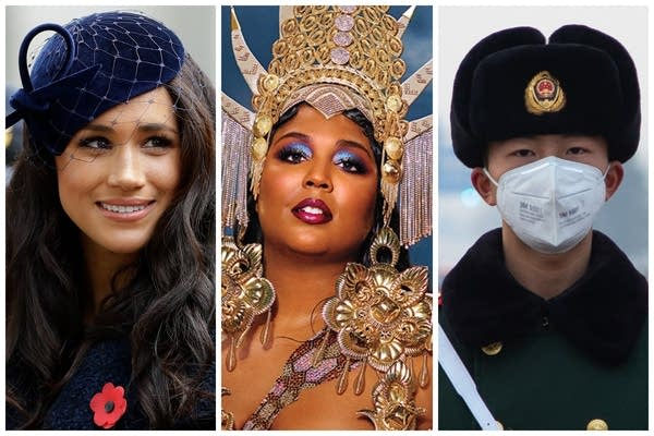 Three images, one of Meghan Markle, one of Lizzo, one of a Chinese officer