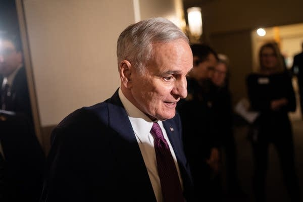 Former Gov. Mark Dayton leaves the Fitzgerald Theater