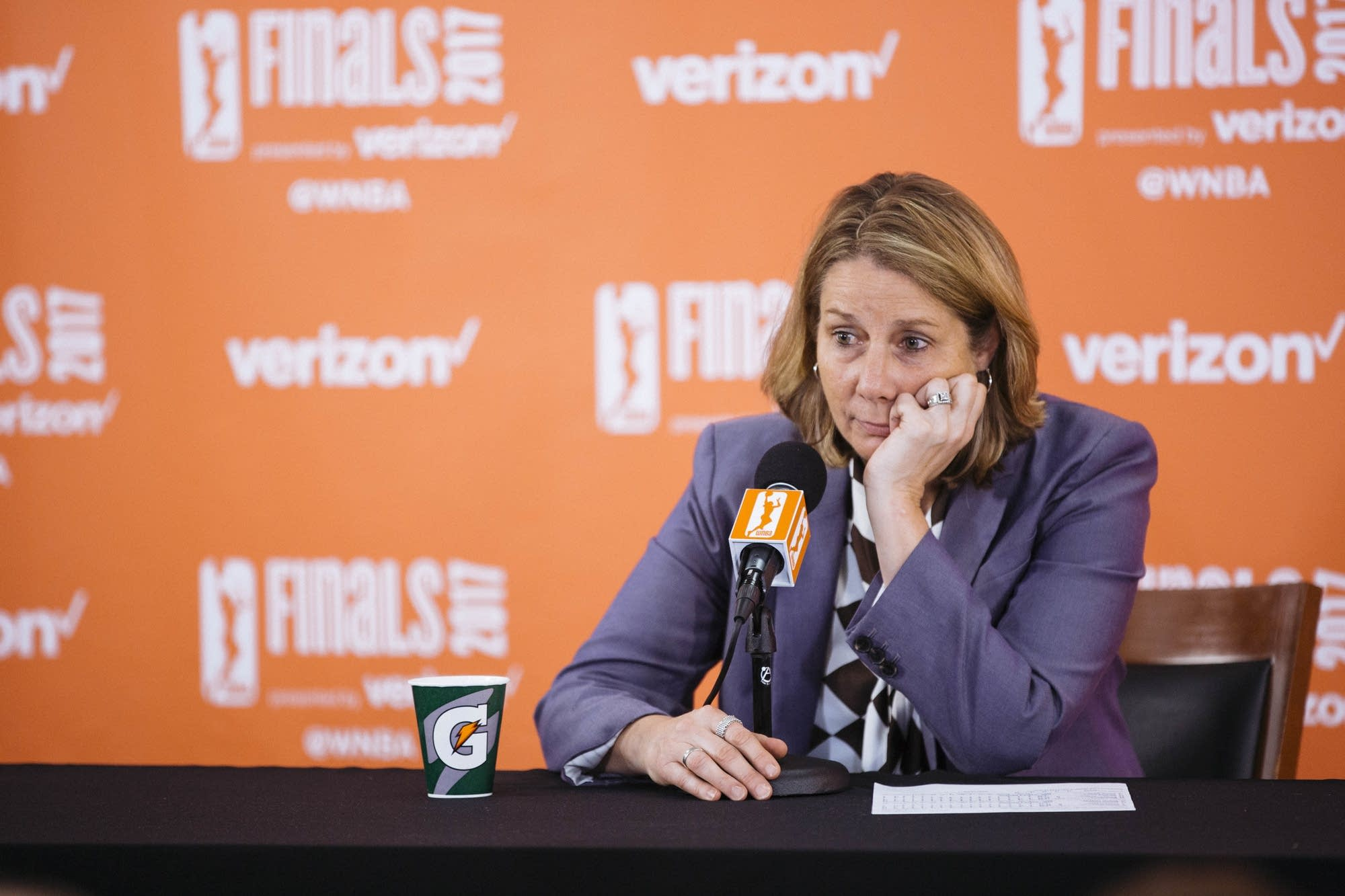Minnesota Lynx coach Cheryl Reeve speaks after the game.