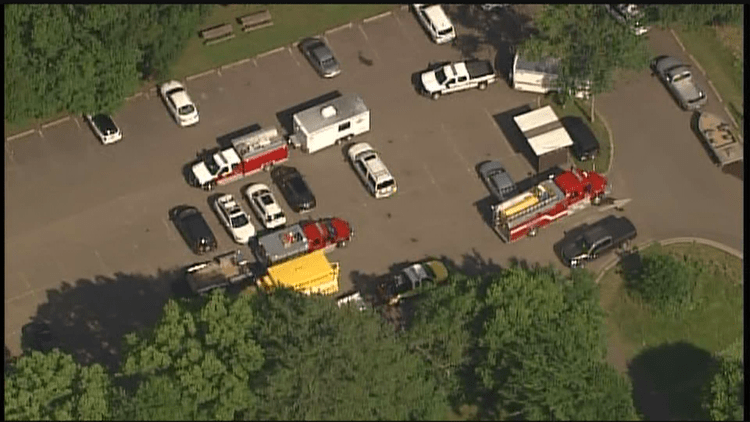 An aerial view of a rescue staging area.