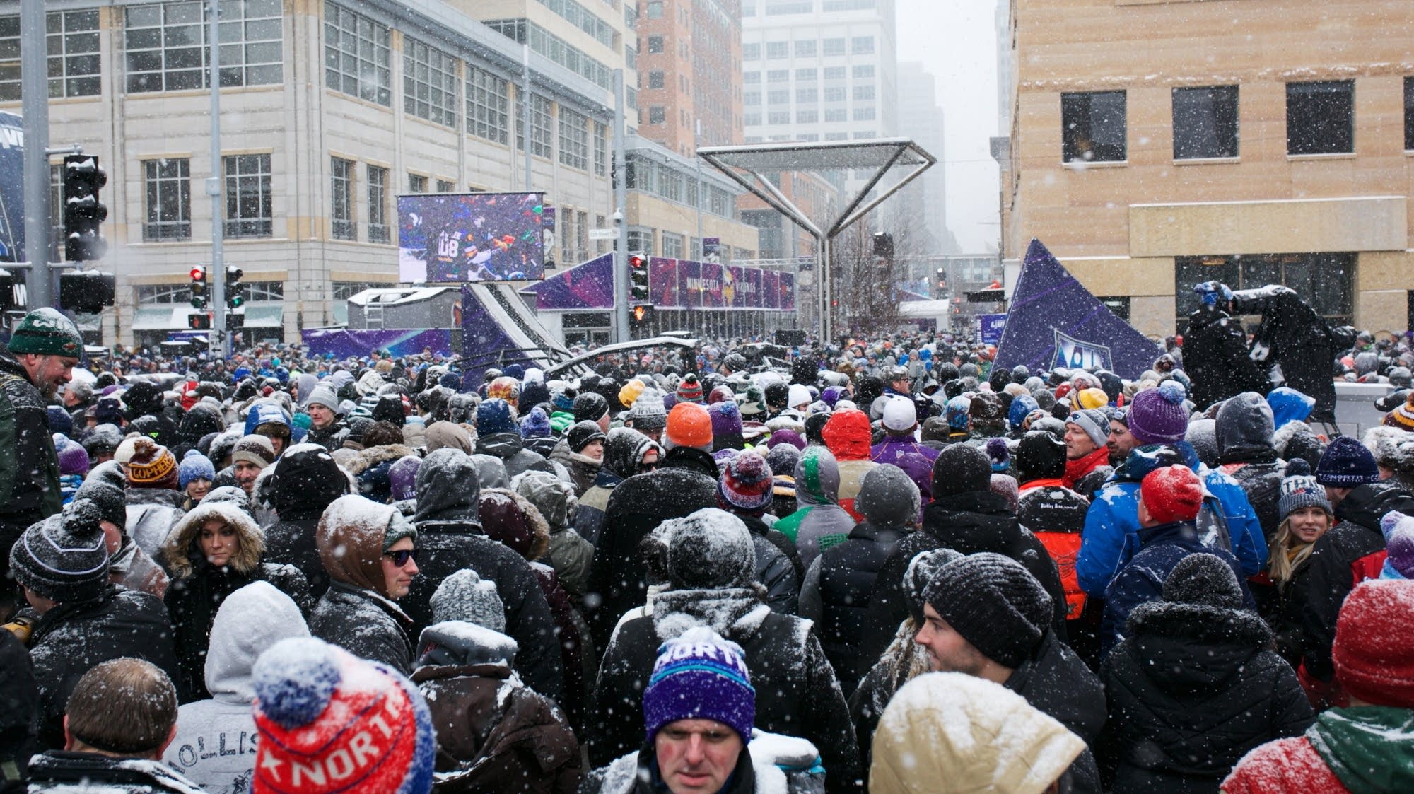 A snowy Super Bowl in downtown Minneapolis