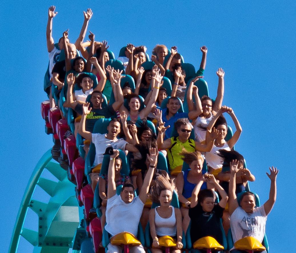 Roller coaster near the top