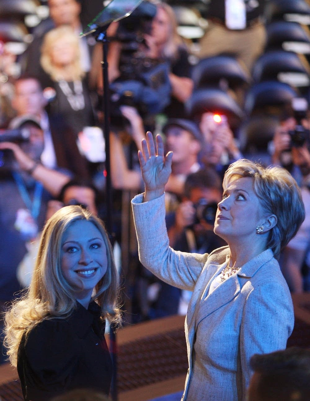 Hillary and Chelsea Clinton at the DNC