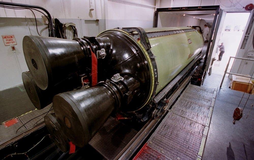 A Minuteman III missile engine