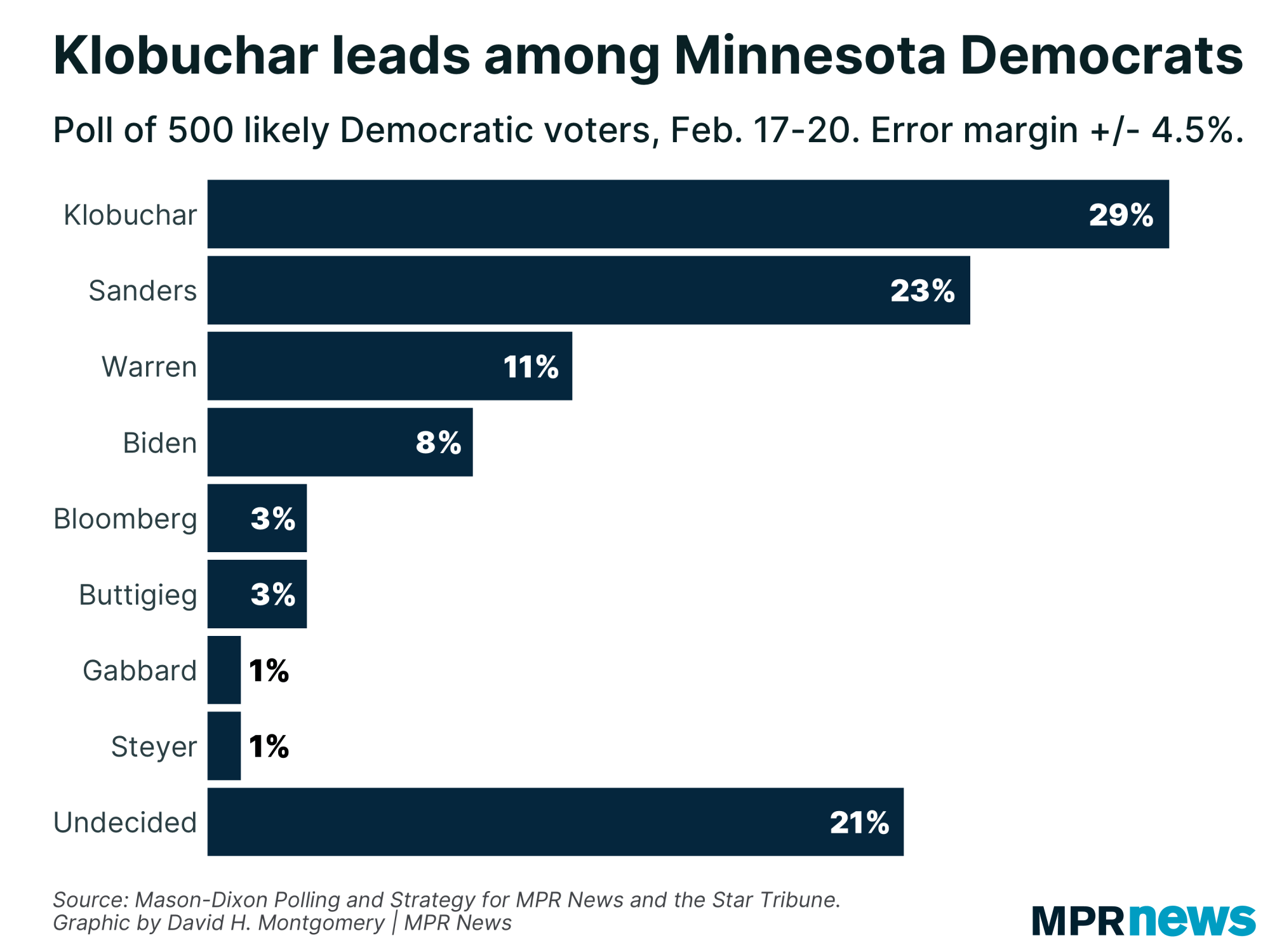 Amy Klobuchar leads among Minnesota Democrats in the presidential primary.