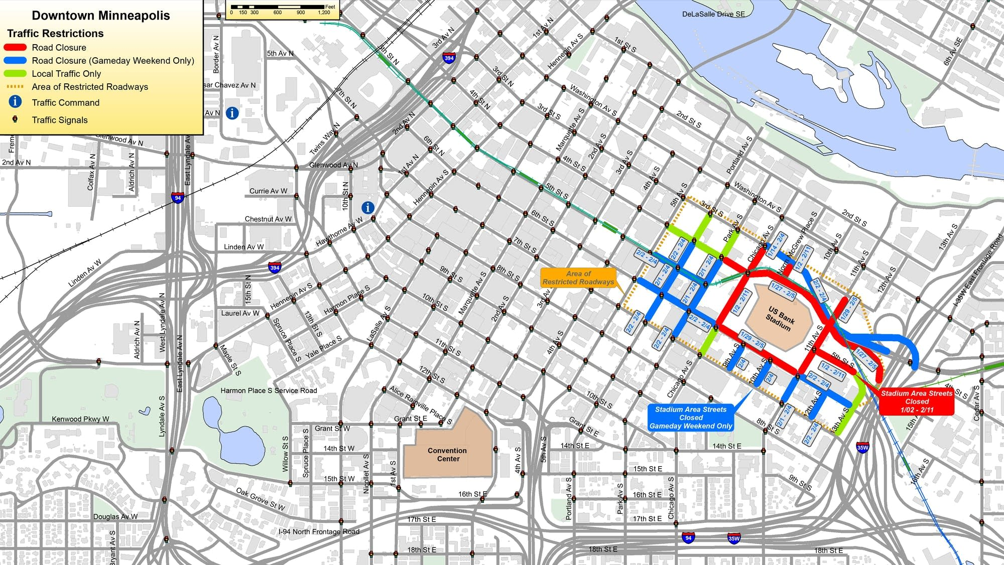 Super Bowl road closures have begun in Minneapolis.