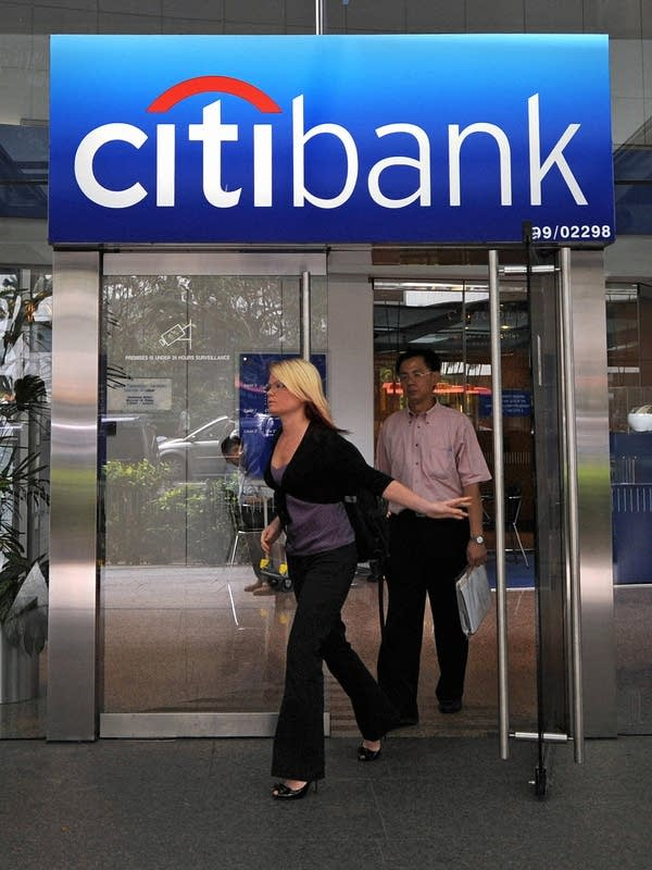 Customers exit Citibank