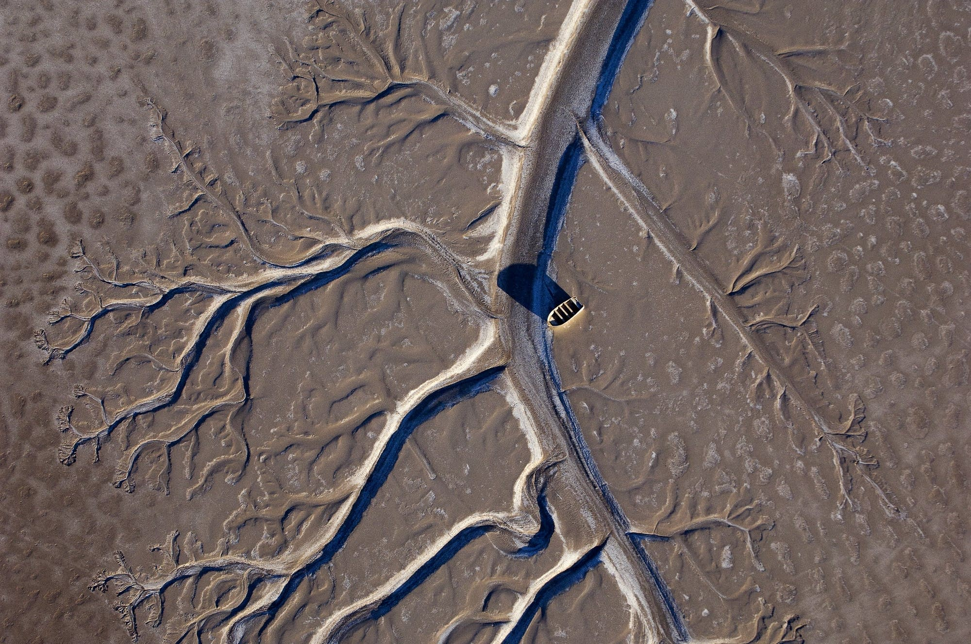 An abandoned boat on the Colorado River delta.