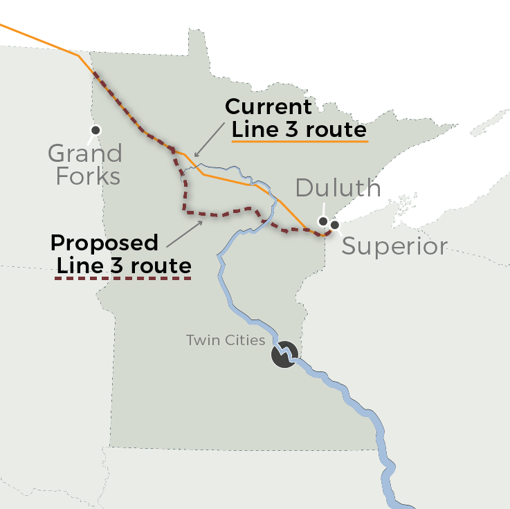 The proposed Line 3 route takes a winding path across Minnesota
