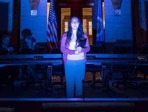 Megan Lee Anderson, Wonderlust Company member, rehearses her lines.