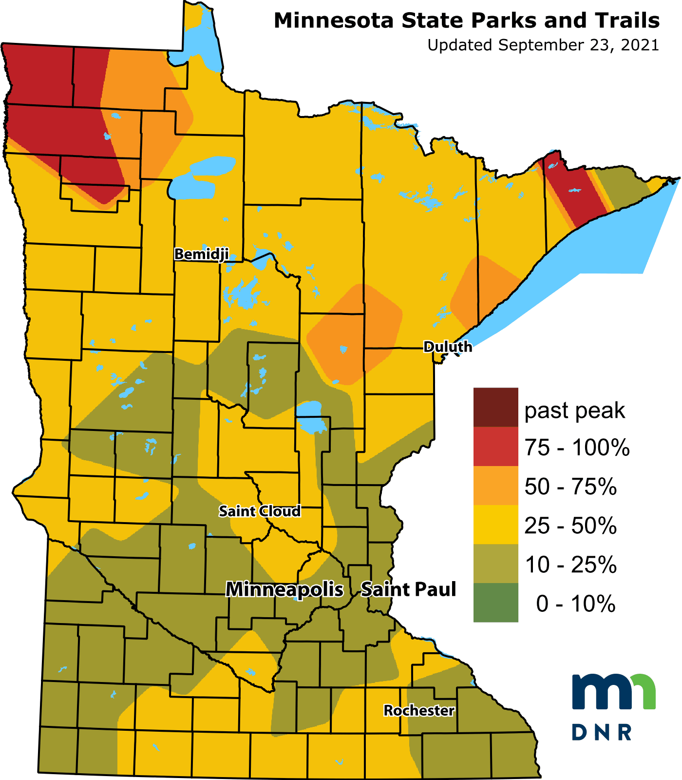 map of the state of Minnesota indicates fall color areas