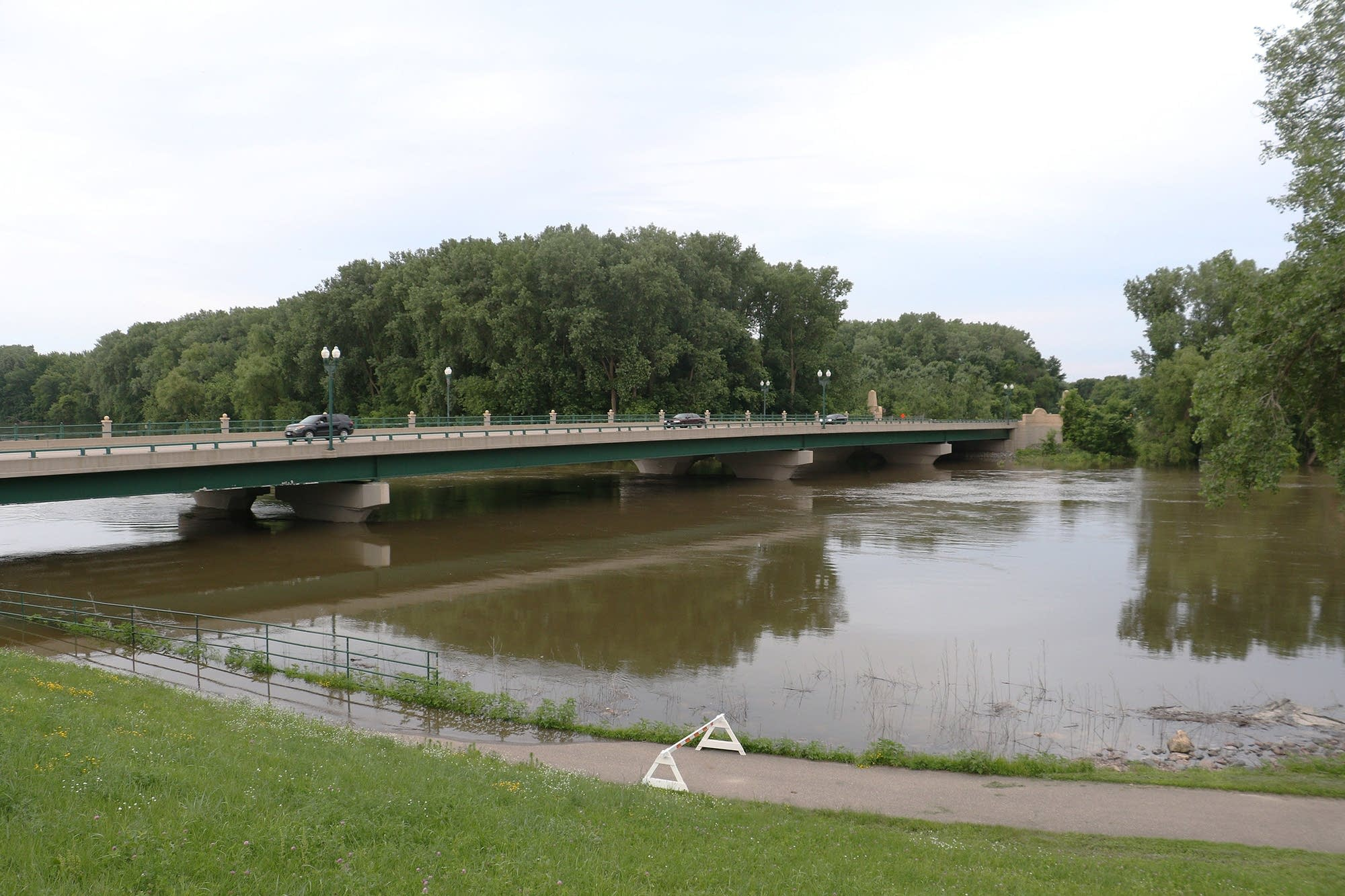 Traffic crosses the Highway 41 bridge across the Minnesota River.