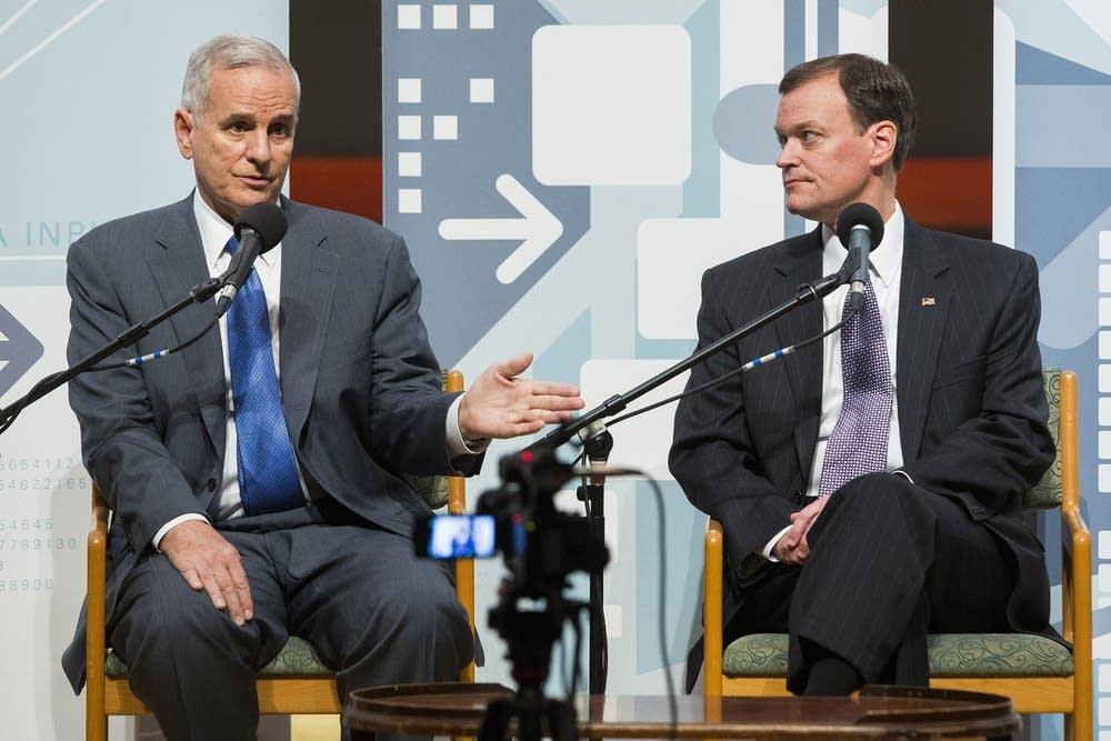 Dayton and Johnson debate in Duluth in 2014.