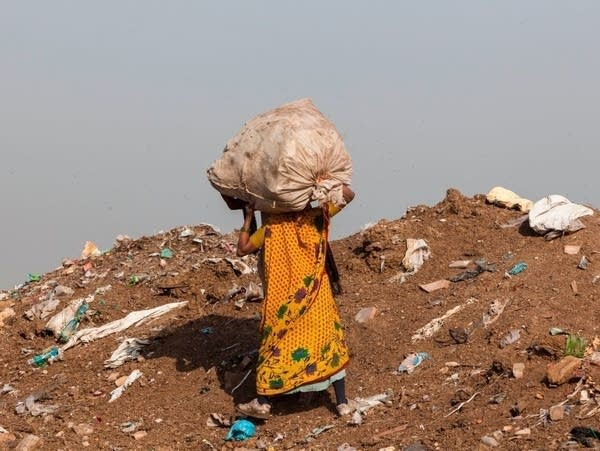 A trash picker at the Ghazipur landfill