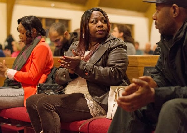 Valerie Castile attends a police and community forum in Robbinsdale.