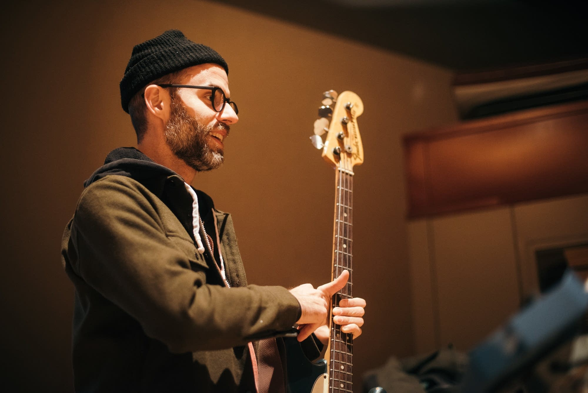 Bassist Chris Morrissey in the studio