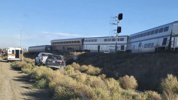 Crews respond to the scene of a train derailment