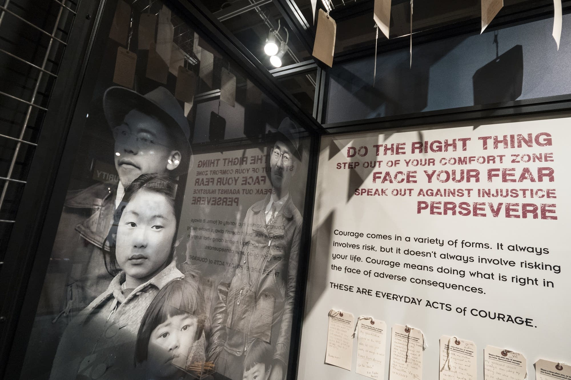 A display asks guests to share experiences of everyday acts of courage.
