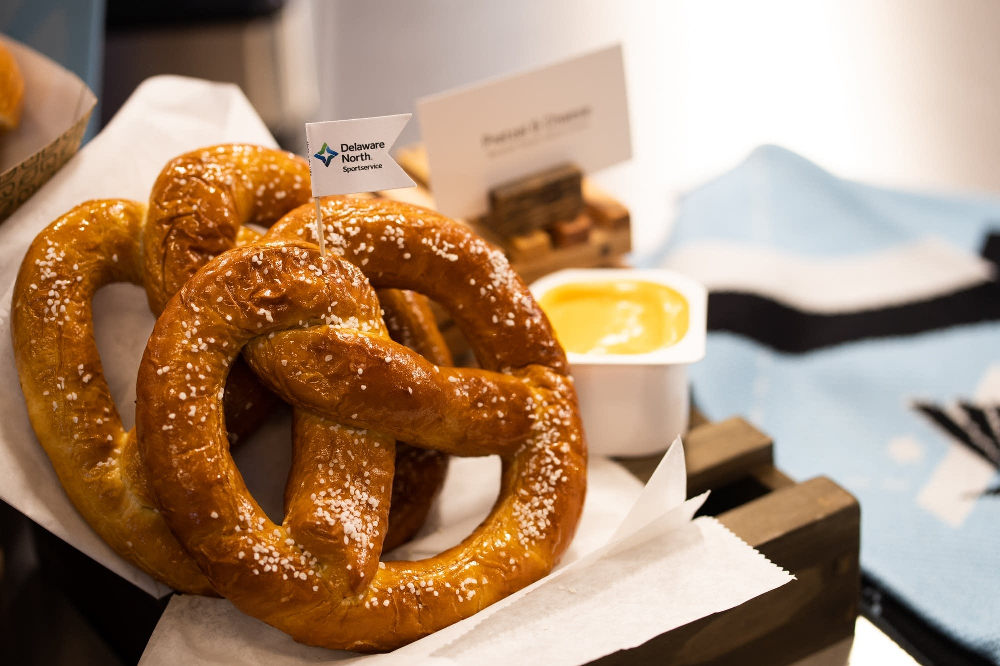 A pretzel and cheese at Allianz Field.