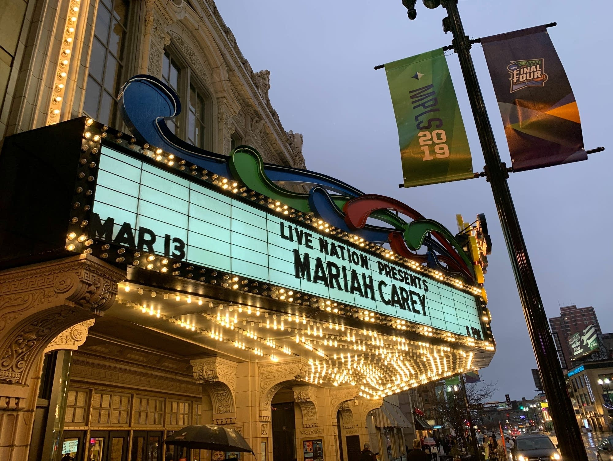State Theatre marquee advertising Mariah Carey.
