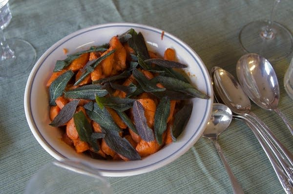 Wine-Braised Carrots with Fried Sage Leaves