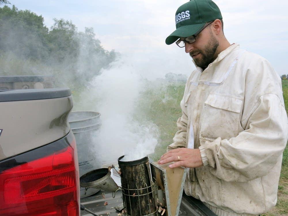 USGS researcher Matthew Smart prepared a smoker.