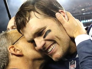 Tom Brady celebrates after winning the AFC Championship Game.