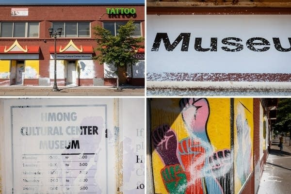 Four photos in a grid showing vandalism to a building.