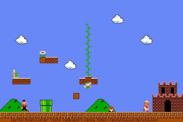 Screen from Super Mario Bros: Mario & Luigi near castle