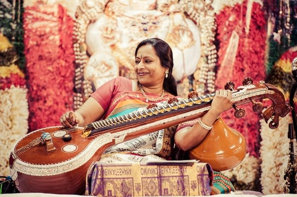 Nirmala Rajasekar is one of the top performers of the veena.