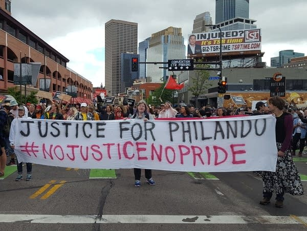 Protesters held up the 2017 Ashley Rukes Pride Parade on June 25, 2017.