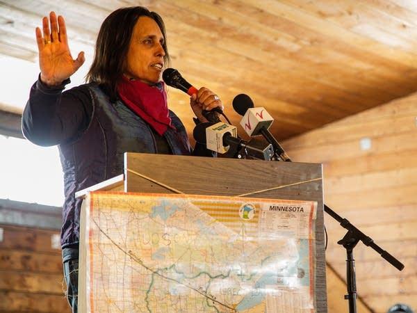 Winona LaDuke  speaks at the 'Solution Summit.'