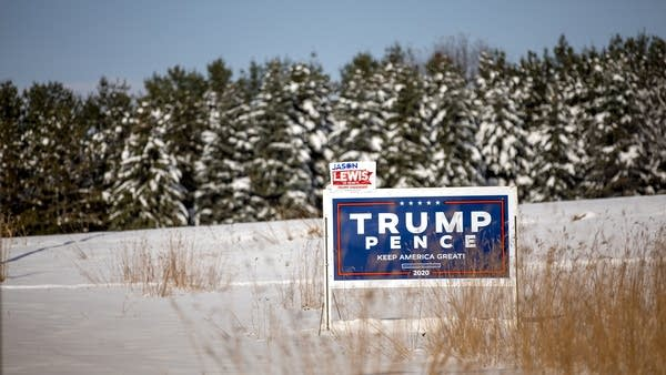 A campaign sign for President Donald Trump in the ground.