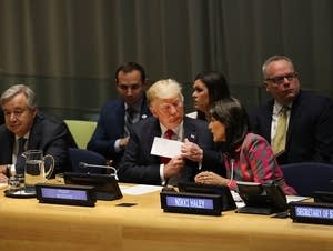 President Donald Trump and Nikki Haley at the United Nations.
