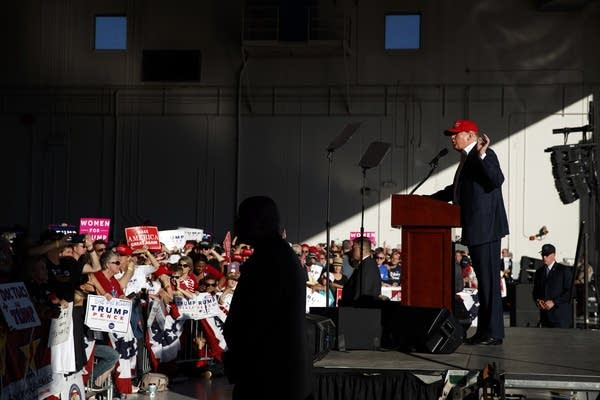 Trump speaks during a campaign rally in Mpls.