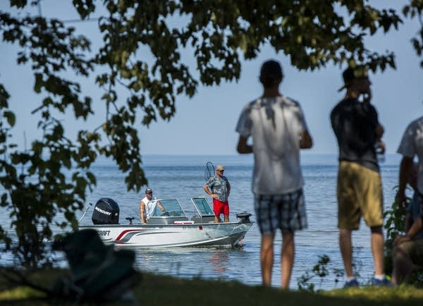 Anglers on Lake Winnibigoshish returned to shore.