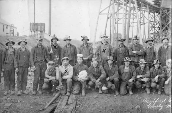 Miners marked with an X were killed in the Milford Mine disaster.