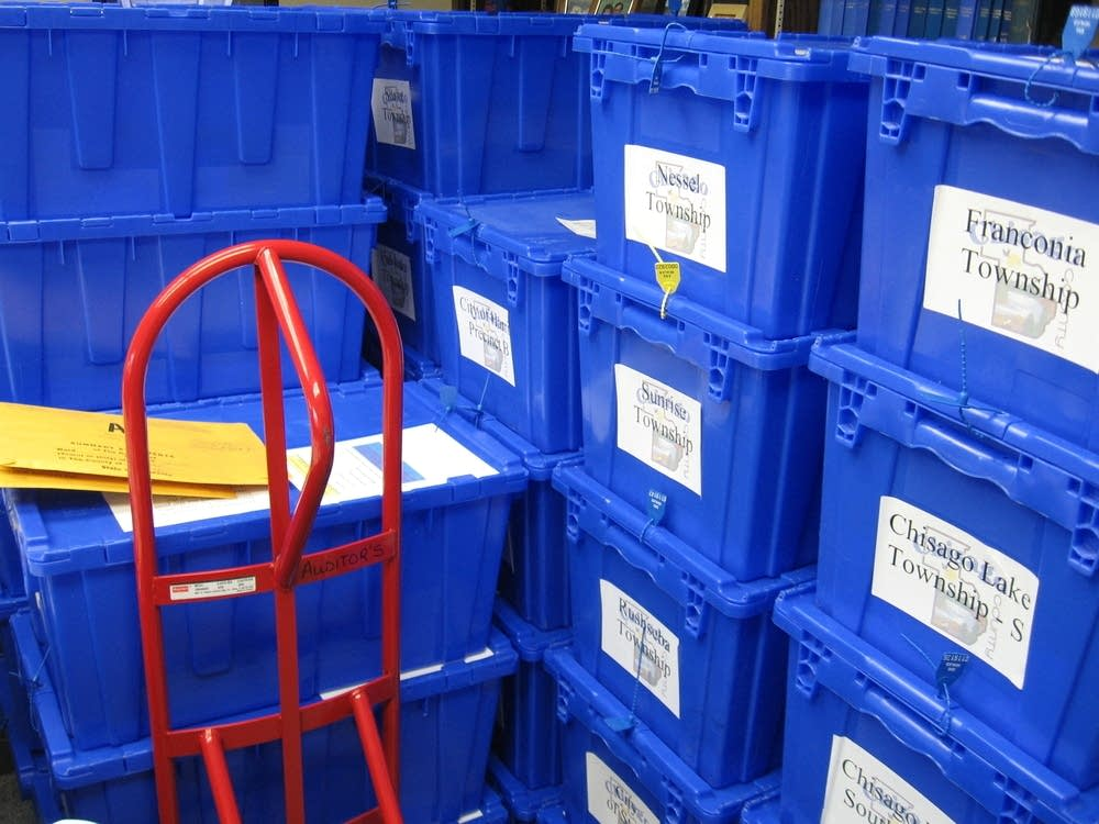 Bins full of ballots in Chisago County