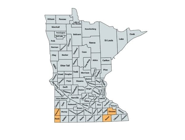 Rock, Pipestone, Mower, and Olmsted counties are highlighted in orange.