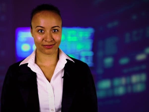 A woman in a digital background setting.