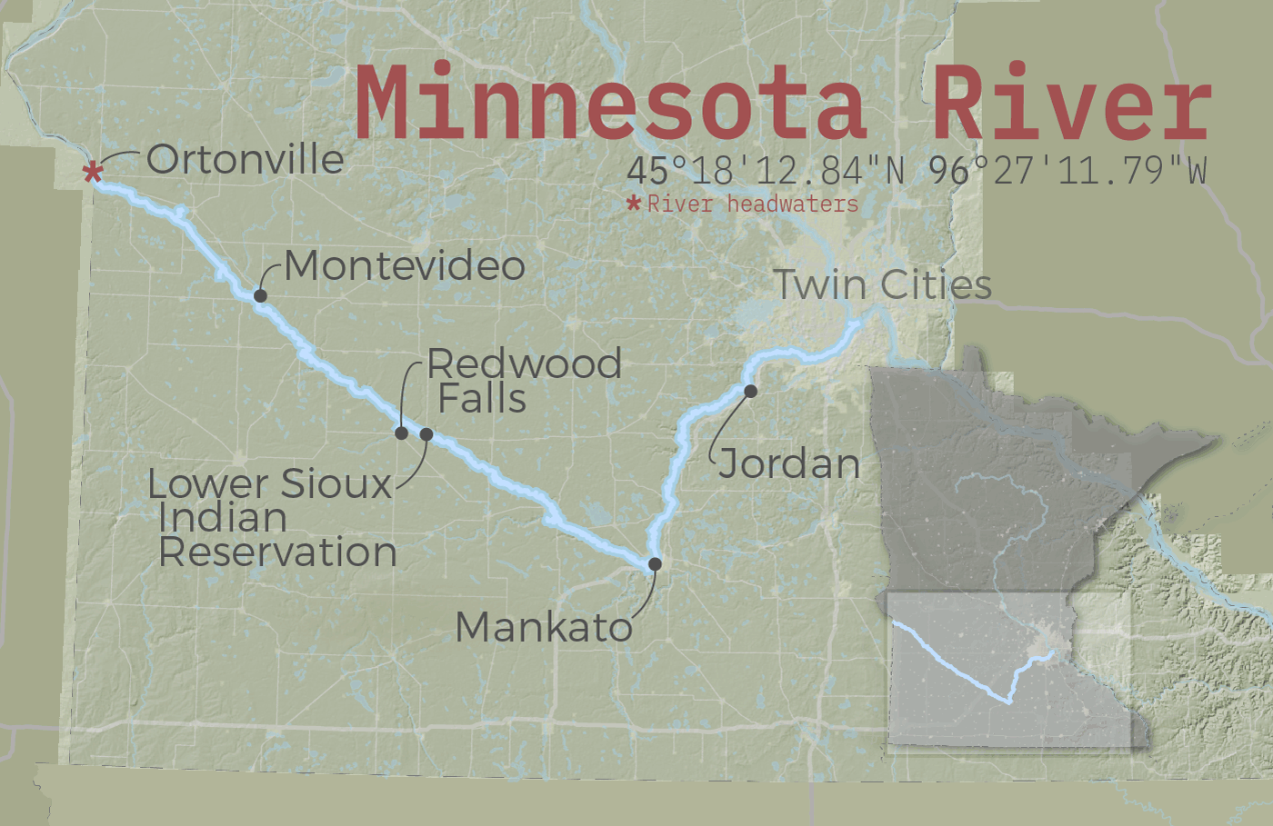The Minnesota River crosses the state, emptying into the Mississippi River