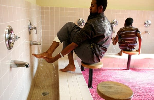 Washing feet before prayer