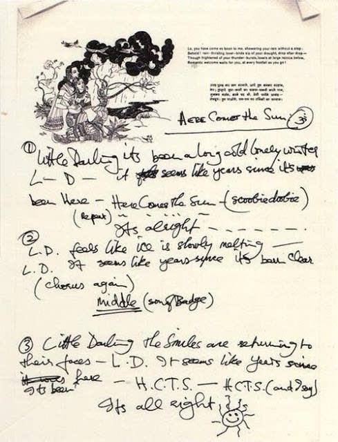 George Harrison's lyrics for Here Comes The Sun