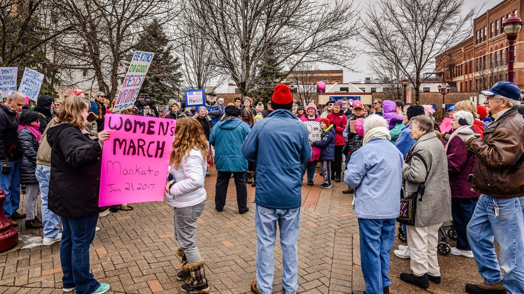 About 50 people gathered Saturday at Jackson Park in Mankato.